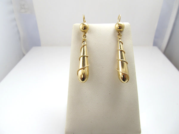 Estate 14k yellow gold long drop earrings