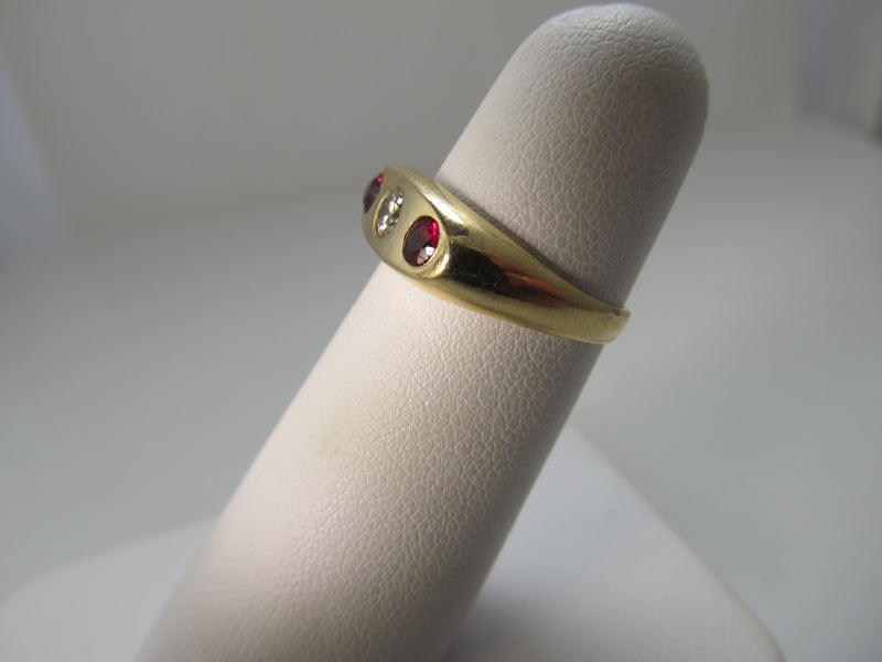 Vintage ruby and diamond gypsy ring