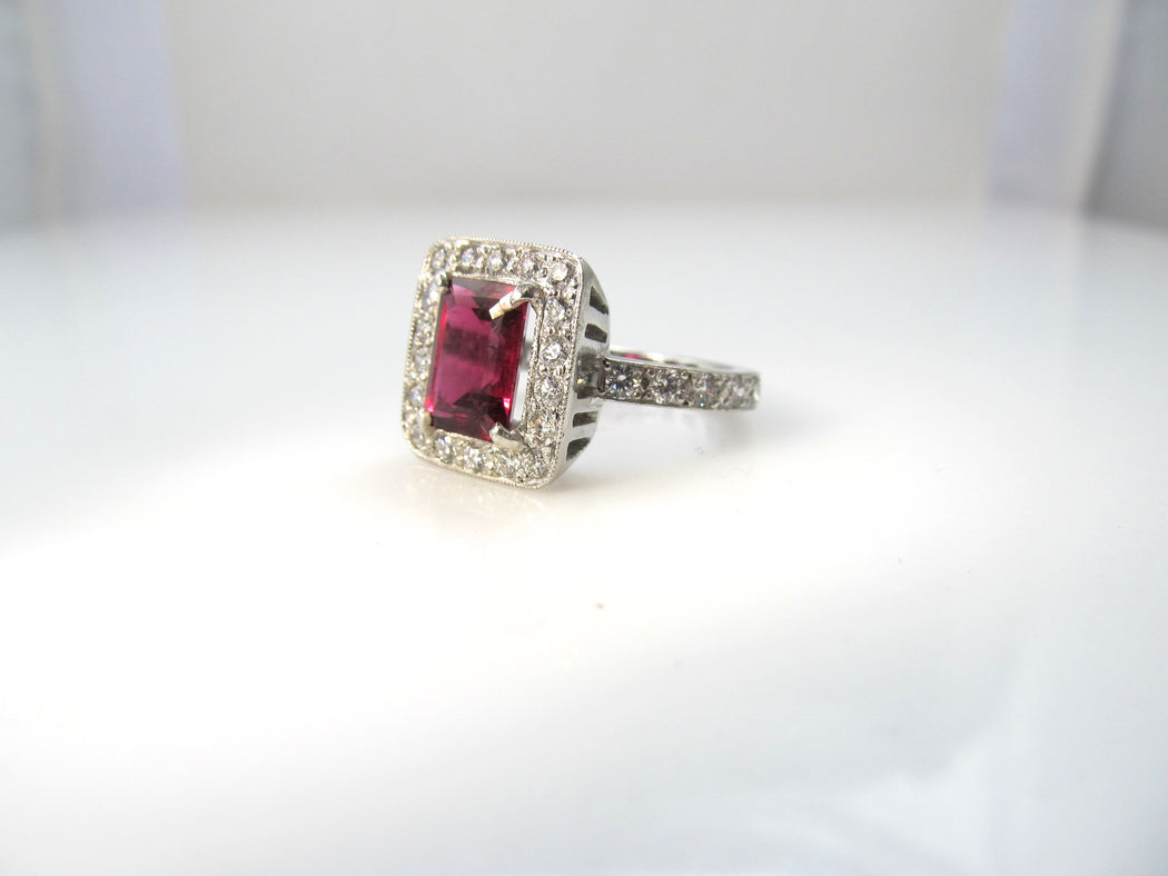 Platinum ring with a 2ct rubellite and 1.20cts in diamonds