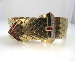 Vintage retro diamond and ruby buckle bracelet
