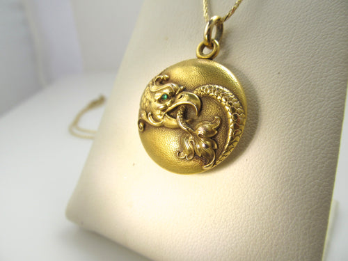 Art Nouveau 14k emerald eye griffin locket