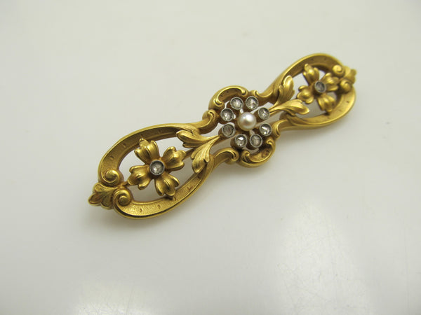 Antique 18k Yellow Gold Pin With Rose Cut Diamonds And Pearls, Circa 1910.