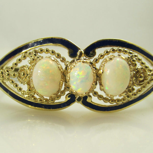 Vintage 14k Yellow Gold Opal, Cobalt Blue Enamel Bangle Bracelet