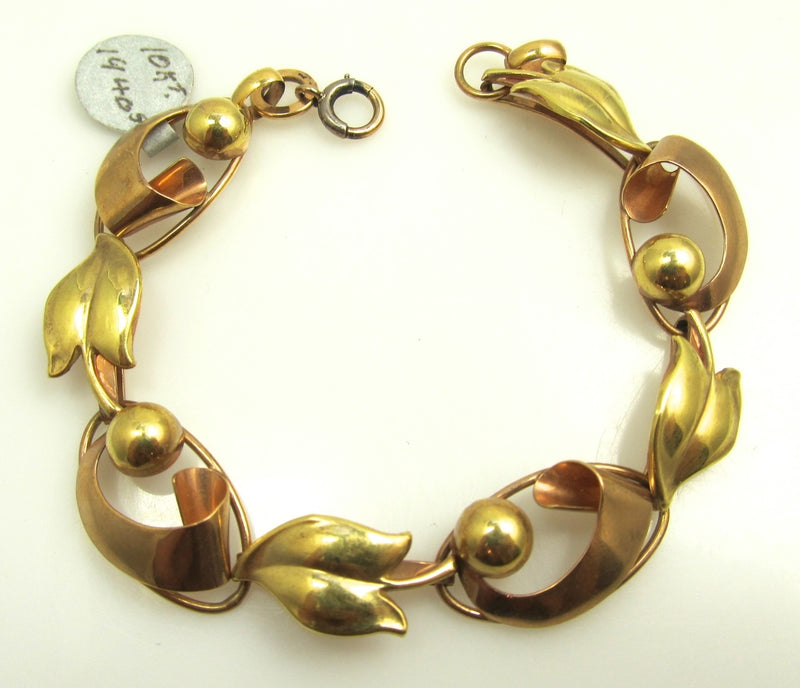 Vintage 10k Rose And Yellow Gold Link Bracelet, Circa 1940.