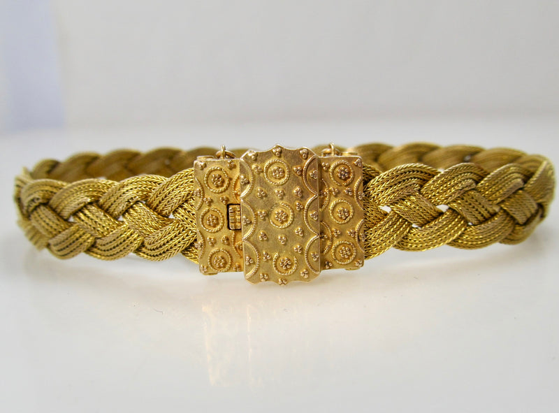 Antique woven 14k gold bracelet