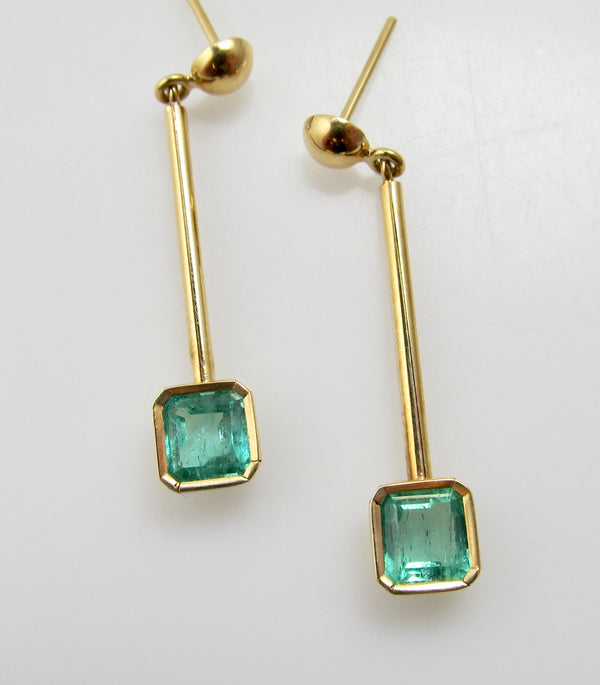 1ct natural emerald drop earrings