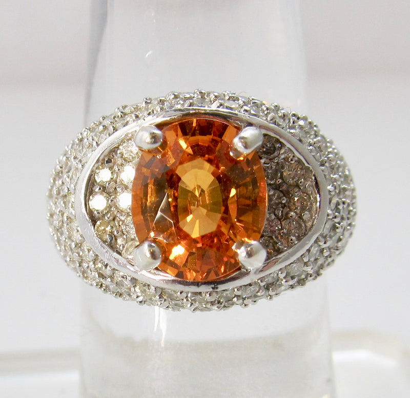 Bright orange natural sapphire diamond ring