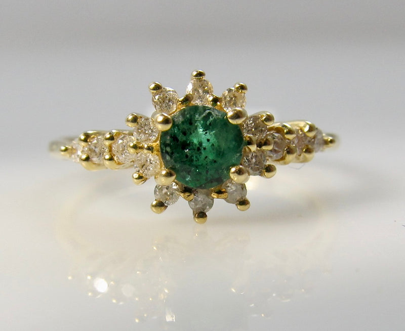 Emerald and diamond pinky ring