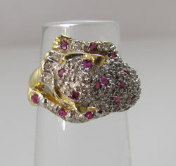 Ruby and diamond panther ring