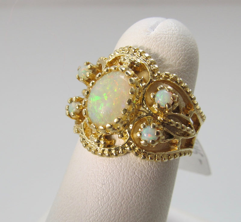 Vintage wide opal band ring