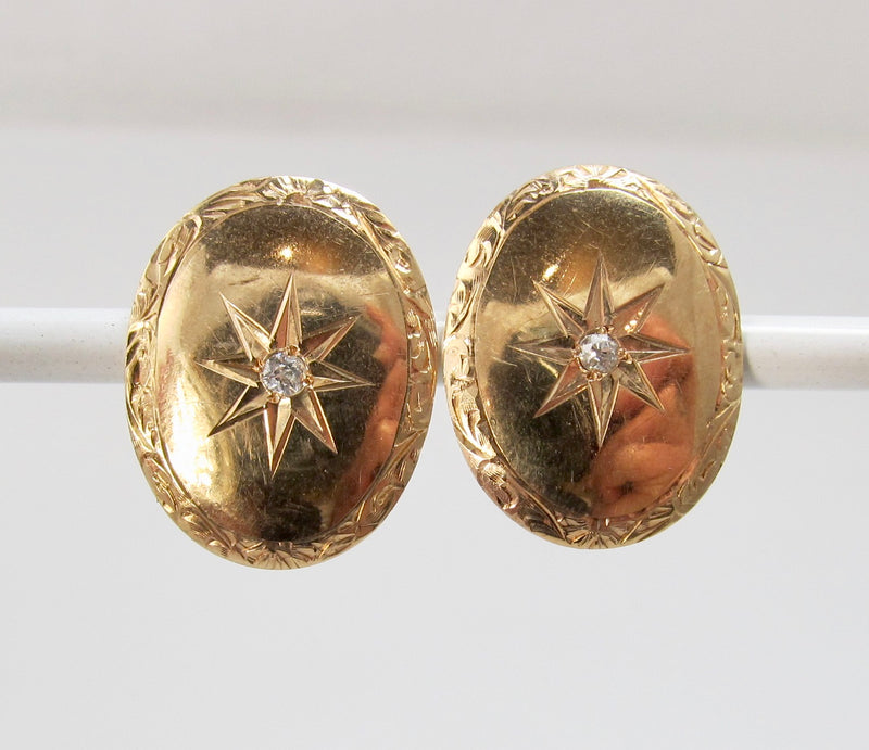 Antique rose gold diamond earrings