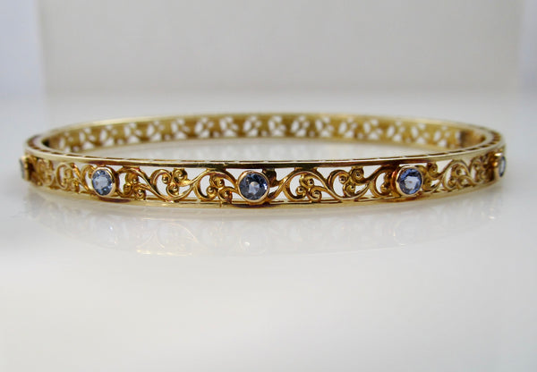 Antique filigree sapphire bangle bracelet