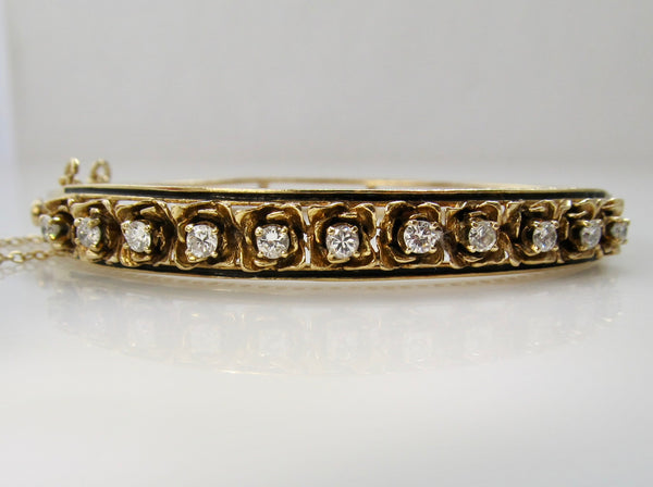 Vintage enamel diamond bangle bracelet
