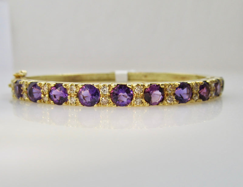Yellow gold amethyst diamond bangle bracelet