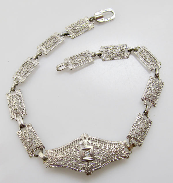 Vintage white gold filigree bracelet
