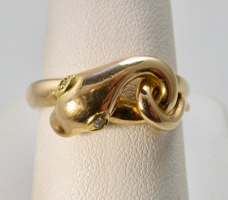 Vintage diamond eyed snake ring