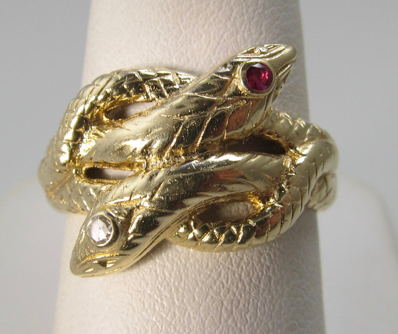 Vintage double snake ring