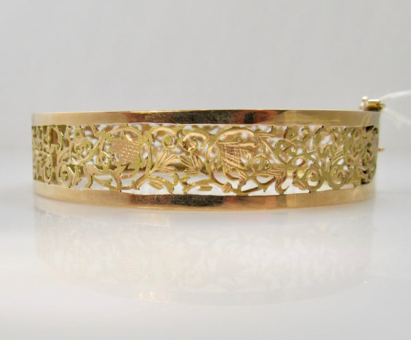Antique rose gold filigree bangle bracelet