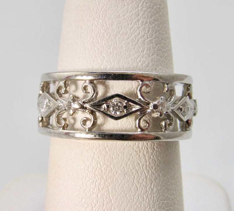 Estate diamond wide eternity band