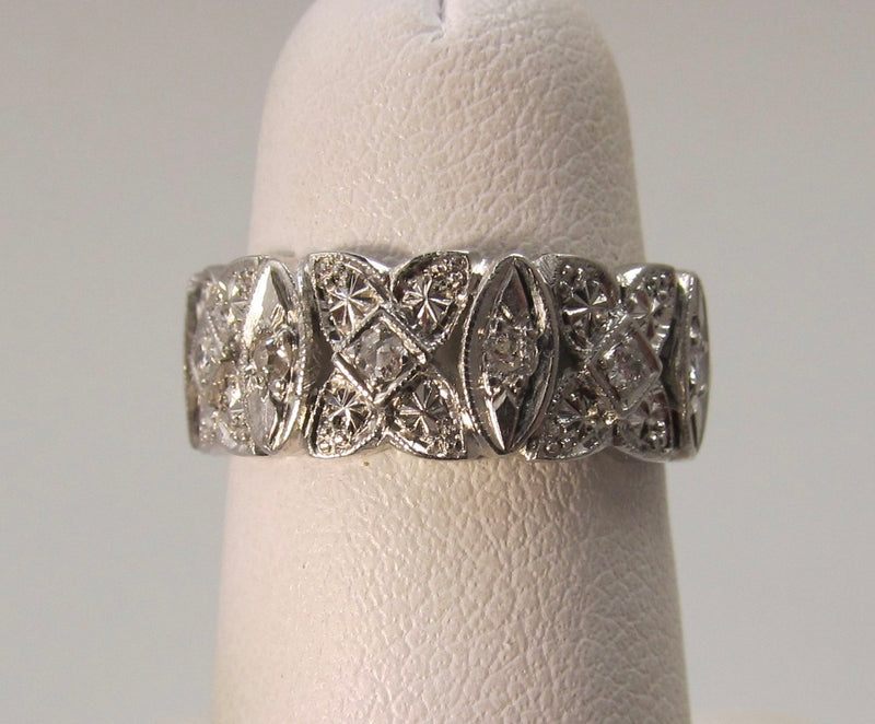 Vintage platinum filigree eternity band