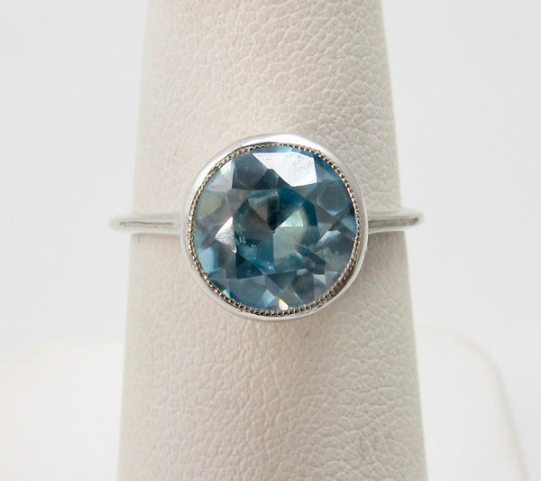 Antique platinum blue zircon ring