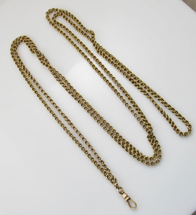 Long Victorian yellow gold chain