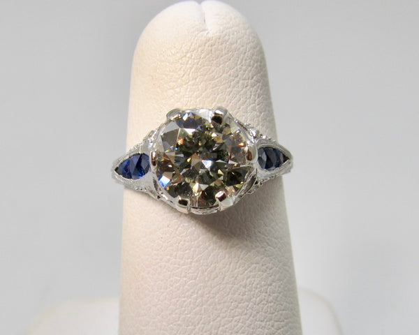 Antique 1.92ct diamond sapphire engagement ring
