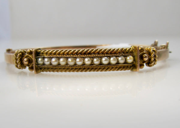 Antique bangle with pearls