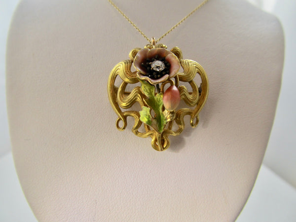 Art Nouveau enamel diamond necklace