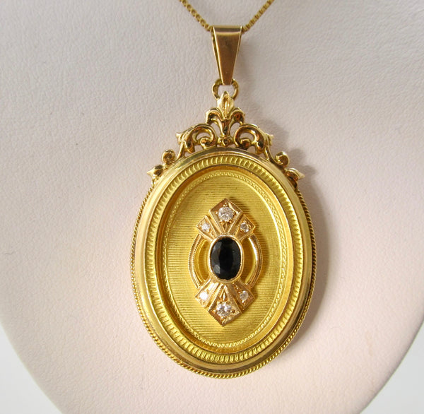 Sapphire and diamond locket necklace