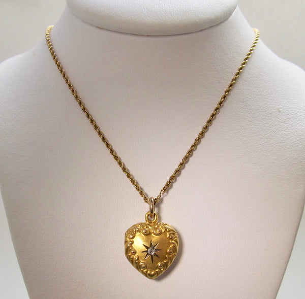 Antique heart shaped diamond locket