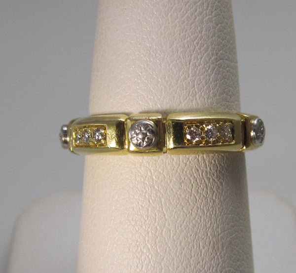 18k & platinum diamond stack band