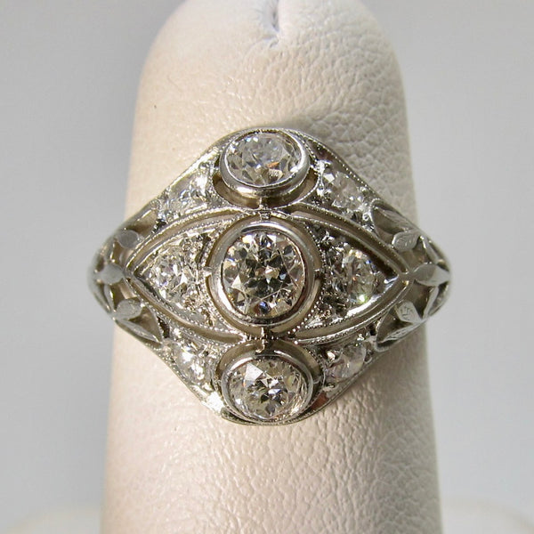 Antique platinum 1ct diamond ring