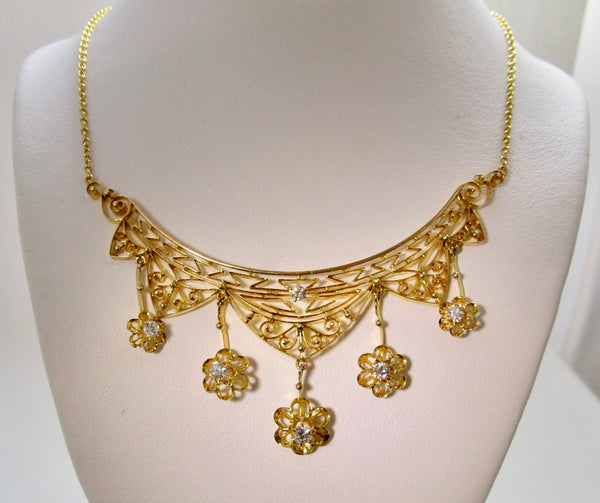 Edwardian filigree diamond necklace