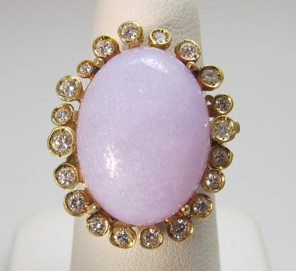Lavender jade and diamond ring