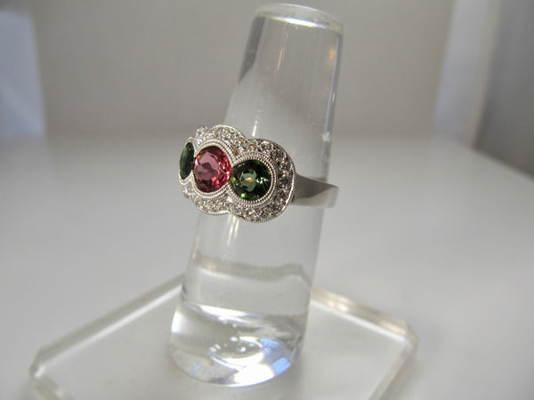 Pink and green tourmaline diamond ring