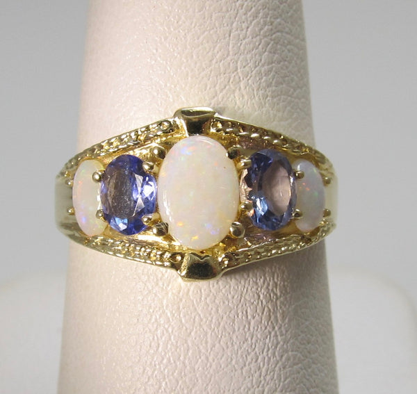 Opal and tanzanite band ring