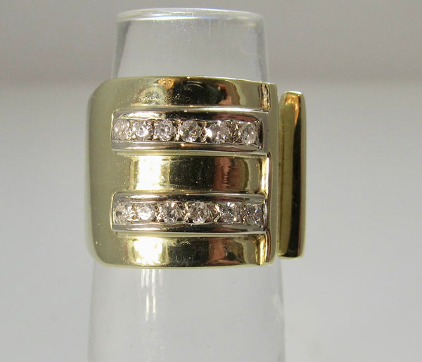 Wide gold diamond band