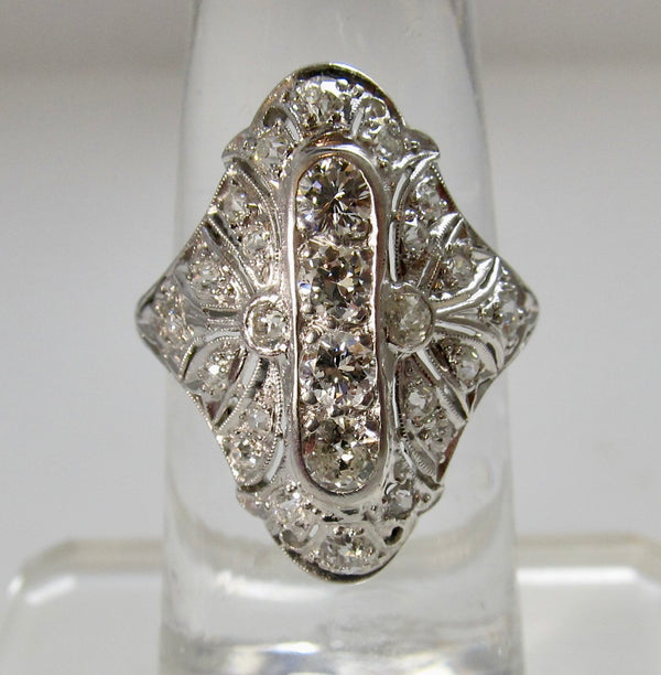 Antique platinum cocktail ring