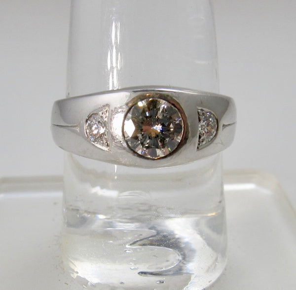 Vintage platinum flush set ring