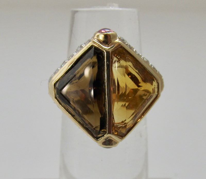 Modern quartz cocktail ring