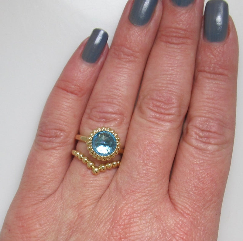 Gabriel & Co blue topaz ring