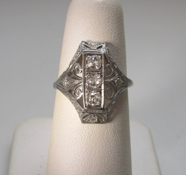 Antique long filigree diamond ring