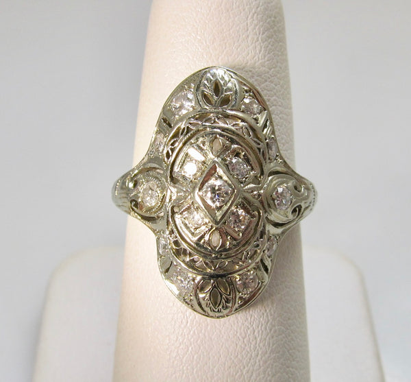 Vintage long filigree diamond ring