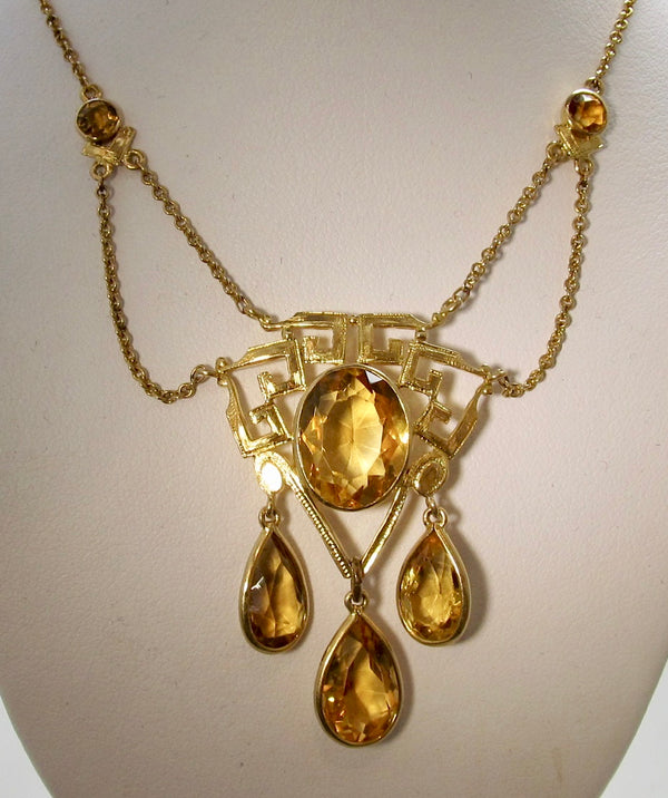 Art Nouveau citrine necklace