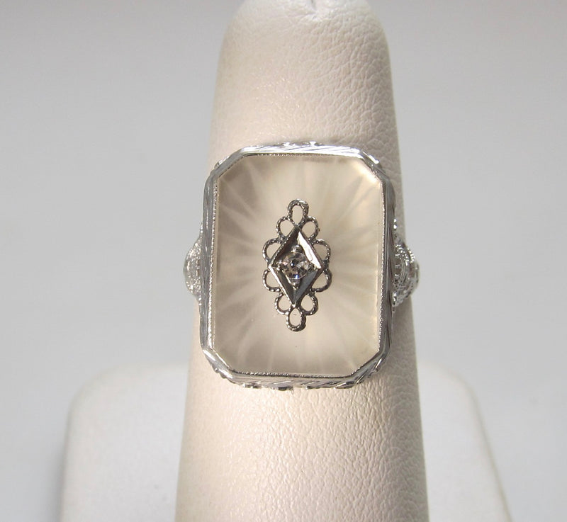 Camphor glass diamond ring