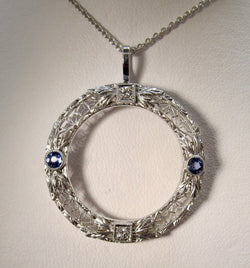 Antique sapphire diamond circle necklace