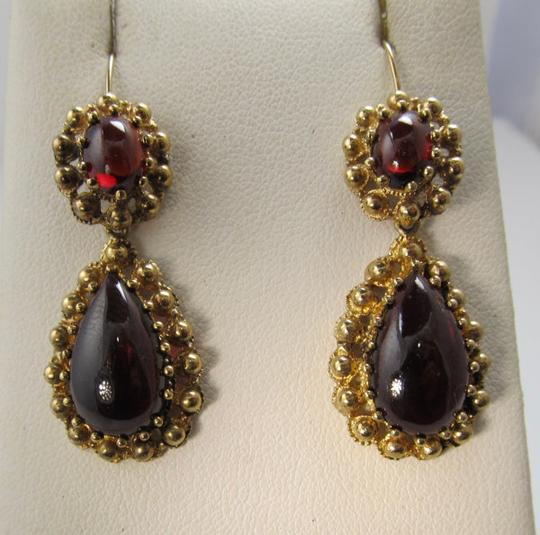 Vintage large garnet drop earrings, 14k yellow gold