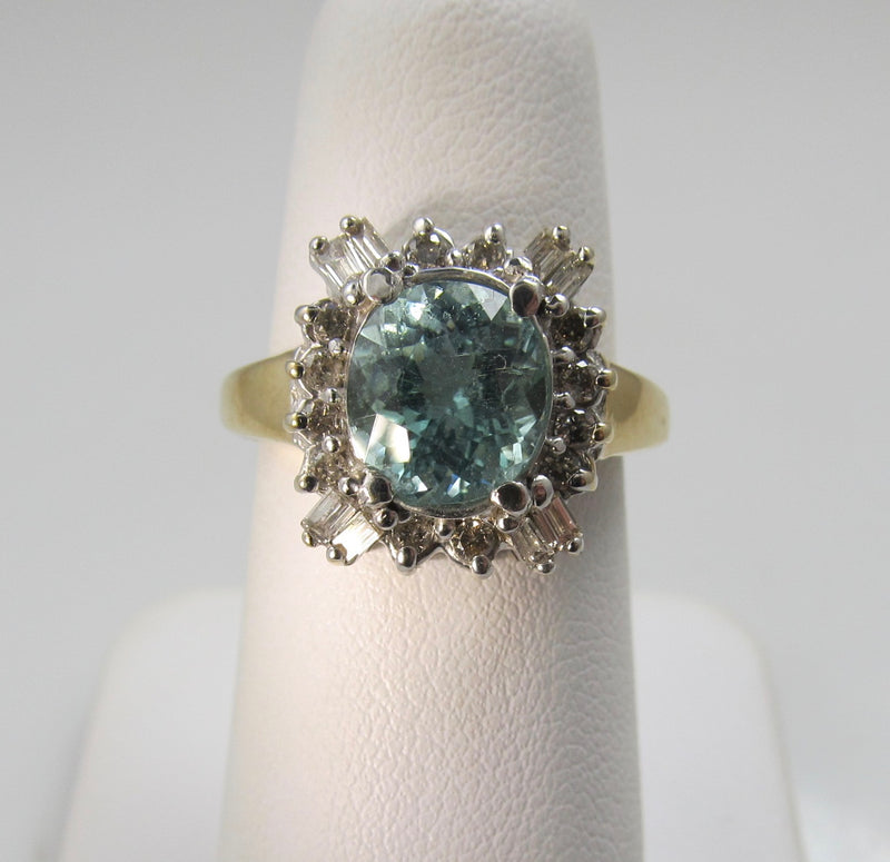 Estate 14k gold blue topaz and diamond ring