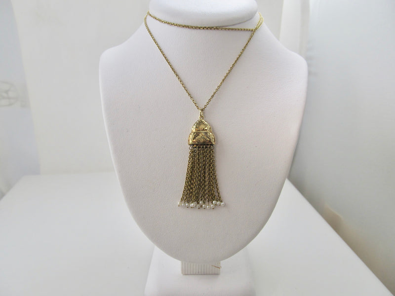 Edwardian tassel necklace with pearls, 14k yellow gold